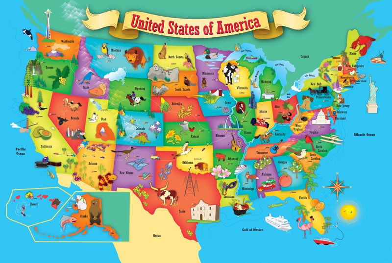 Amazoncom Eeboo This Land Is Your Land Map Prints Toys Games Free - Best map in the us